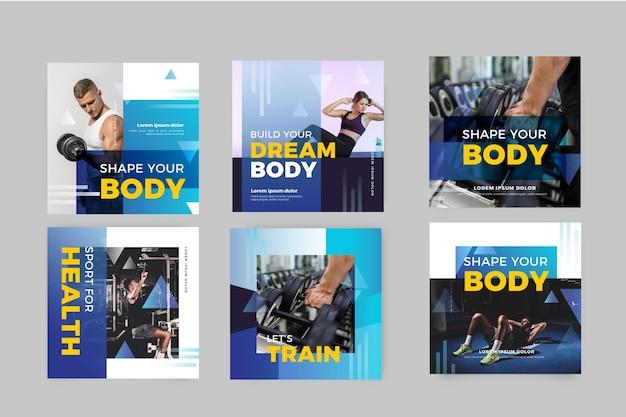 Coleção de postagem de gradiente de saúde e condicionamento físico com foto