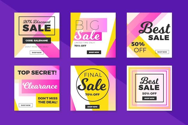 Coleção de postagem de insta de vendas