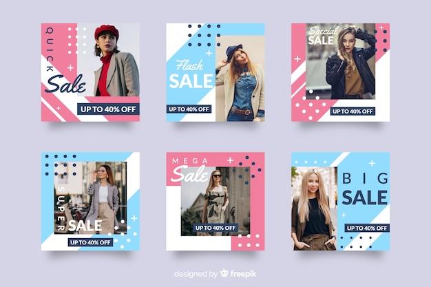 Coleção de postagem de instagram abstrata de venda de moda