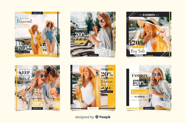 Coleção de postagem de instagram de venda de moda abstrata