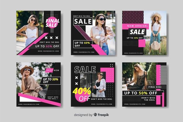 Coleção de postagem de instagram de venda de moda legal