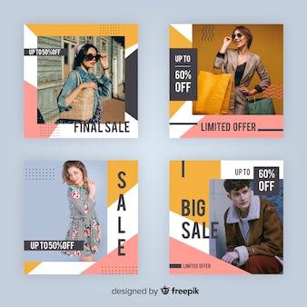 Coleção de postagem de instagram de venda moderna com foto