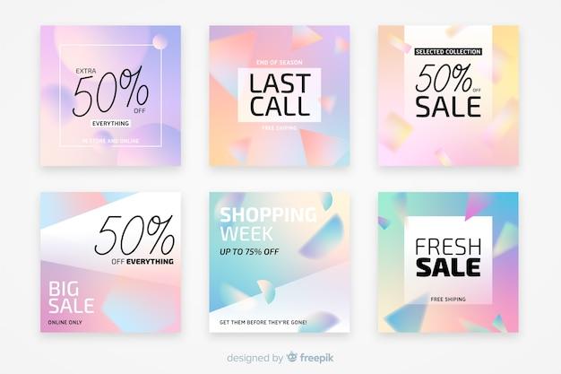 Coleção de postagem de instagram de vendas gradiente