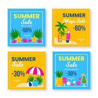 Coleção de postagem do instagram com venda de verão