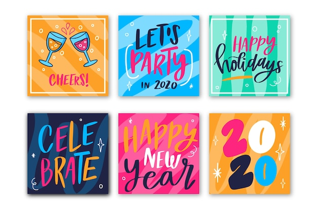Coleção de postagem do instagram de festa de ano novo