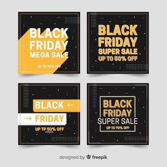 Coleção de postagem do instagram de sexta-feira negra preta