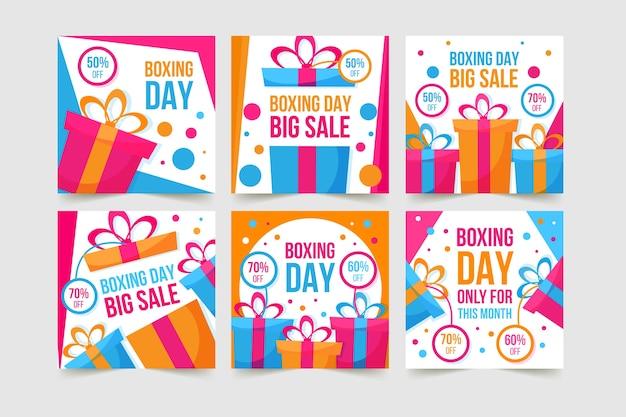 Coleção de postagem do instagram de venda de dia de boxe