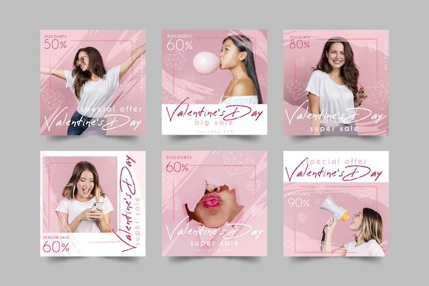 Coleção de postagem do instagram de venda de dia dos namorados