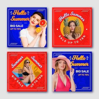 Coleção de postagem do instagram de venda de verão
