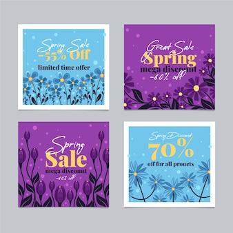 Coleção de postagens coloridas de venda de primavera