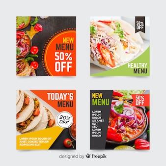 Coleção de postagens culinárias do instagram com foto