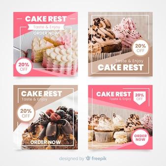 Coleção de postagens culinárias do instagram com imagem