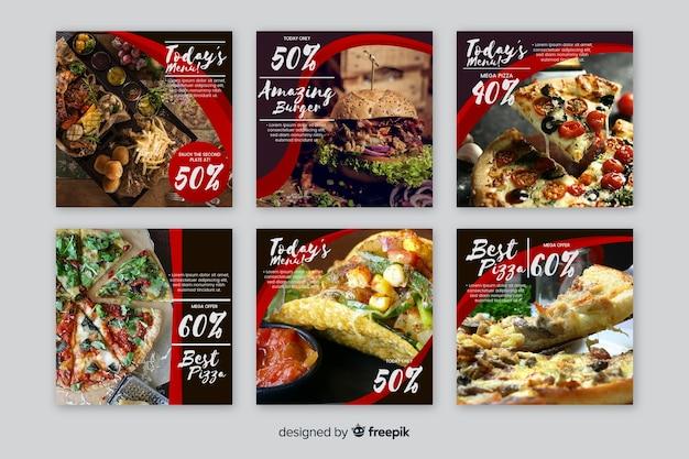 Coleção de postagens culinárias do instagram