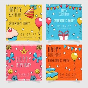 Coleção de postagens de aniversário desenhada à mão