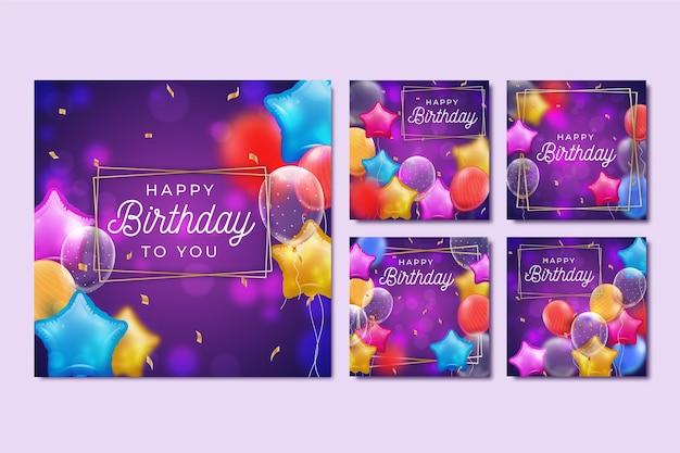 Coleção de postagens de aniversário no instagram