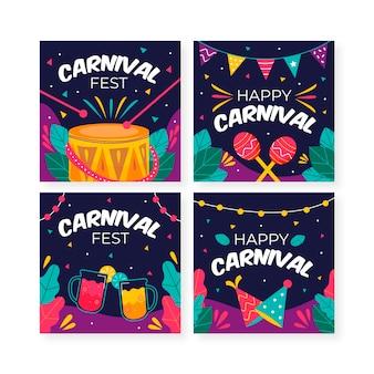 Coleção de postagens de carnaval de instrumentos musicais