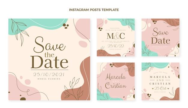 Coleção de postagens de casamento desenhada à mão