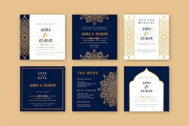 Coleção de postagens de casamento indiano