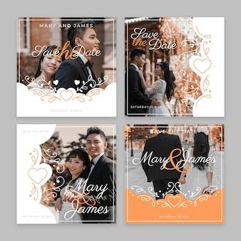 Coleção de postagens de casamento no instagram