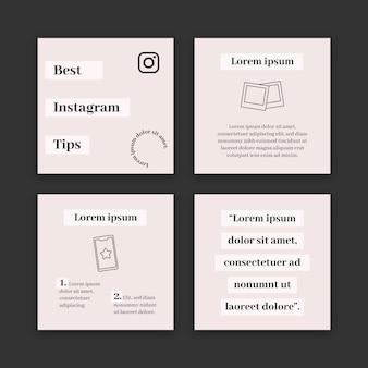 Coleção de postagens de dicas do instagram
