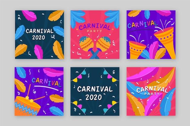 Coleção de postagens de festa de carnaval