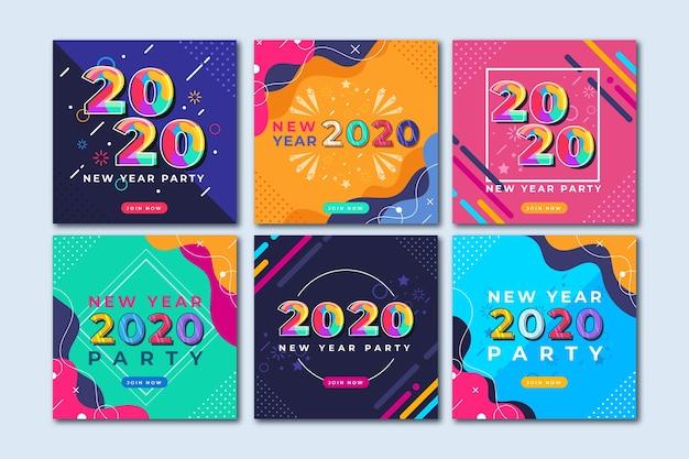 Coleção de postagens de festa do ano novo 2020