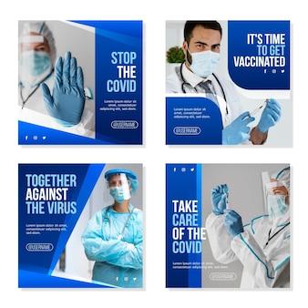 Coleção de postagens de instagram de coronavírus plana