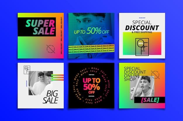 Coleção de postagens de instagram de gradiente com foto