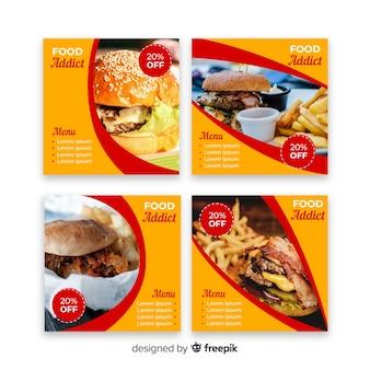 Coleção de postagens de instagram de hambúrgueres com foto
