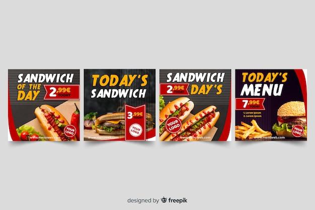 Coleção de postagens de instagram de sanduíches com foto