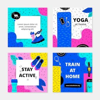 Coleção de postagens de instagram de saúde e fitness desenhada à mão