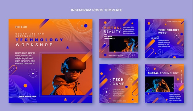 Coleção de postagens de instagram de tecnologia abstrata de gradiente