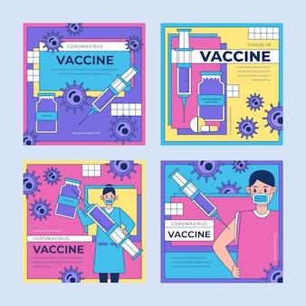 Coleção de postagens de instagram de vacina plana linear
