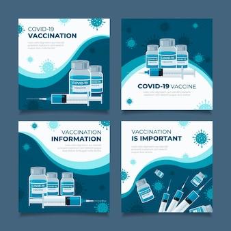 Coleção de postagens de instagram de vacina plana