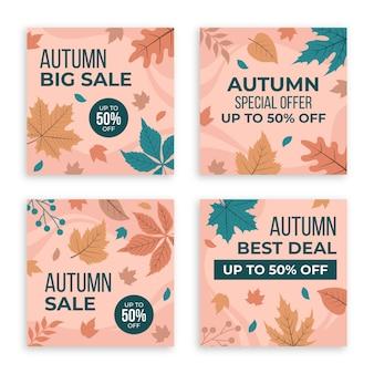 Coleção de postagens de instagram de venda de outono desenhada à mão