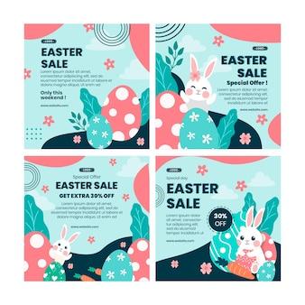 Coleção de postagens de instagram de venda de páscoa