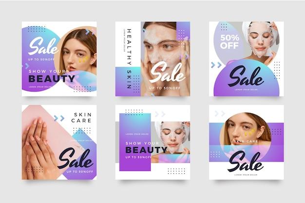 Coleção de postagens de instagram de venda gradiente com foto