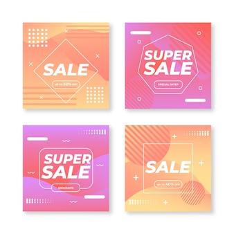Coleção de postagens de instagram de venda gradiente