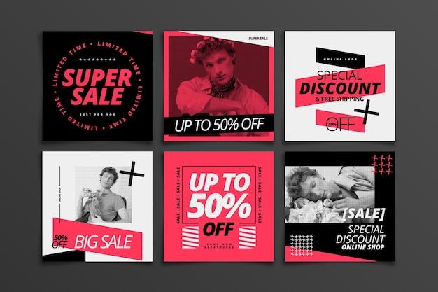 Coleção de postagens de instagram de venda plana com foto