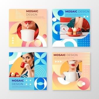 Coleção de postagens de instagram em mosaico de gradiente com foto