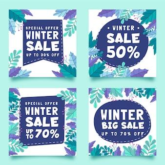 Coleção de postagens de instagram em promoção de inverno