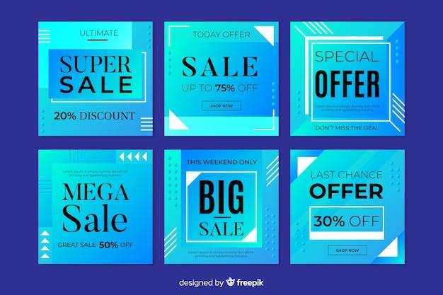 Coleção de postagens de instagram gradiente de venda