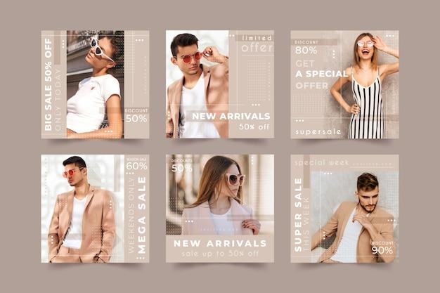 Coleção de postagens de mídia social de venda de moda