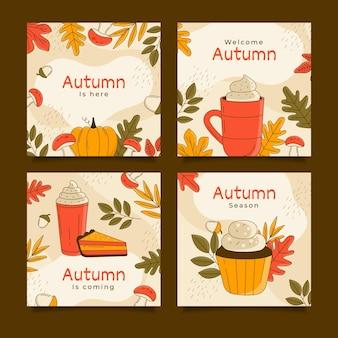 Coleção de postagens de outono desenhada à mão