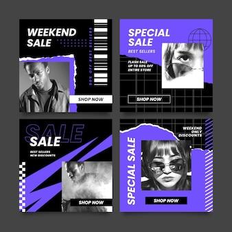 Coleção de postagens de promoções de moda