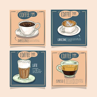 Coleção de postagens de tipos de café no instagram