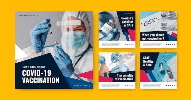 Coleção de postagens de vacinas planas com fotos