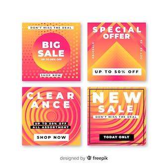 Coleção de postagens de venda de banners gradientes