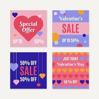 Coleção de postagens de venda de dia dos namorados