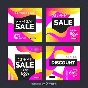 Coleção de postagens de venda de gradiente brilhante